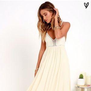 Lulus Hippie Hippie Chic Cream Maxi Dress